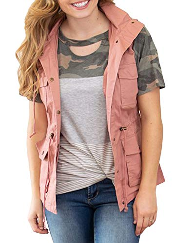 Womens Lightweight Vest Sleeveless Hoodie Military Anorak Pocketed Cargo Jacket Pink