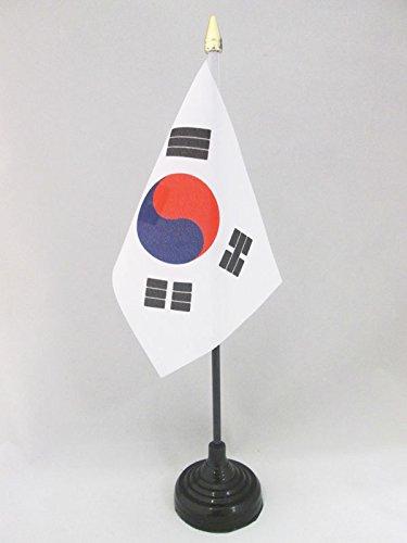 South Korean Desk Flag 15 x 10 cm AZ FLAG South Korea Table Flag 4 x 6 golden spear top