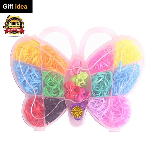 DIY Rainbow Loom Bands Elastic Hair Ties Rubber Hair Bands Set Butterfly Heart Mermaid Violin Shaped Storage for Baby Girls Kids Party Festival Around 400-500 Count (Butterfly) -