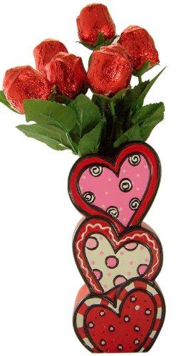 Mother's Day Gift Half Dozen Milk Chocolate Roses in Stacked Heart Sweetheart Vase