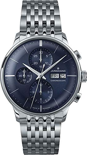 - Junghans Meister Chronoscope Mens Day Date Automatic Chronograph Watch - 40mm Analog Blue Face Classic Watch with Luminous Hands - Stainless Steel Band Luxury Watch Made in Germany 027/4528.45