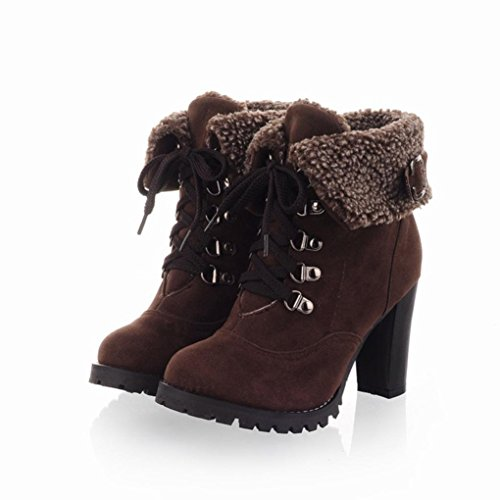 Inkach Women Lace up Martin Boots | Winter Warm Snow Boots | High Heels Ankle Shoes Brown Wh3oKOA