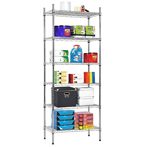 (NSF Wire Shelf Organizer 6 Wire Shelving Unit Metal Storage Shelves Utility Commercial Grade Heavy Duty Height Adjustable Leveling Feet Steel Layer Shelf Rack 1500 LBS Capacity-14x24x60,Chrome)
