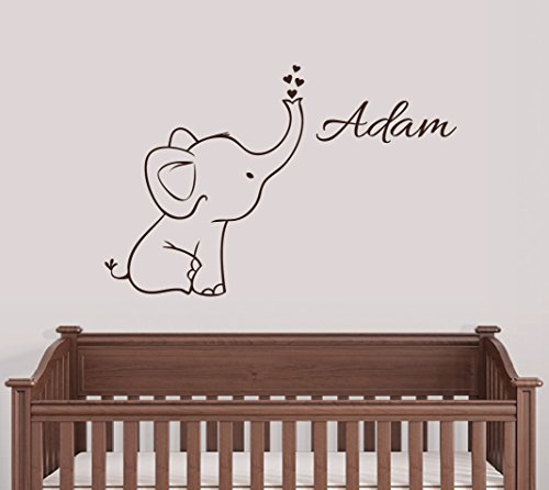 Digiflare Graphics Personalized Elephant Wall Decal Nursery Decor!