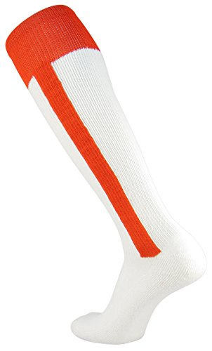 TCK Sports 2-n-1 Premium Baseball Softball Stirrup Socks, Orange, Small