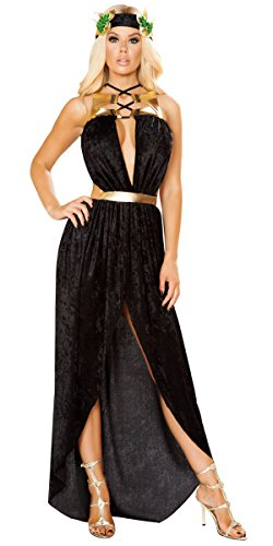 Sexy Aphrodite Greek Goddess of Love Lace-Up Draped Maxi Dress with Leaf Headband - Black/Gold - (Goddess Of Love Costume For Halloween)