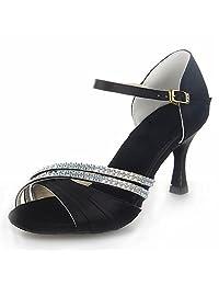 JIA JIA J20524 Women's Satin Sandals Flared Heel Latin Salsa Performance Dance Shoes