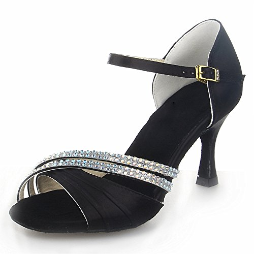 Jia Jia 20524 Latin Women's Sandals 2.8'' Flared Heel Super Satin with Rhinestone Dance Shoes Black 3jMfN