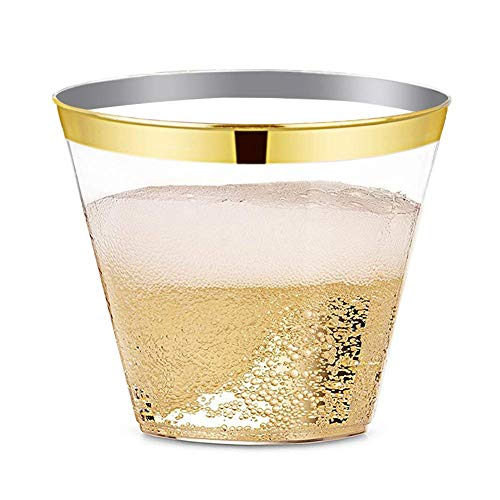 MaxSupplies Gold Rimmed Plastic Cups - | 9 Oz - 100 Pack | Plastic Wine Glasses, Clear Plastic Cups for Party Birthday & All Occasions. Wedding Cups. Elegant Drinking Glasses with Exclusive Design
