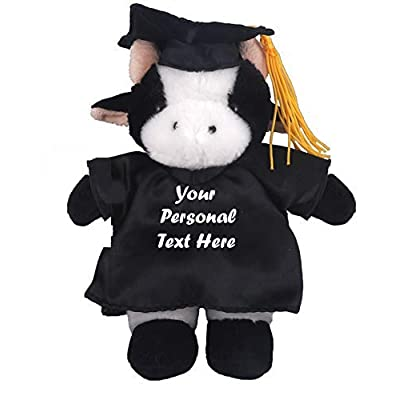 Plushland Plush Stuffed Animal Toys 12 Inches Present Gifts for Graduation Day, Personalized Text, Name or Your School Logo on Gown, Best for Any Grad School Kids (Graduation Cow Black Gown): Toys & Games