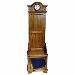 Seth Thomas Townsend White Dial Stained Brown Oak-Finish Hall Tree Case with Storage Units Furniture Clock