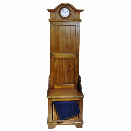 Seth Thomas Townsend White Dial Stained Brown Oak-Finish Hall Tree Case with Storage Units Furniture Clock by Seth Thomas