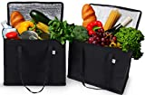 2 Pack Reusable Grocery Tote Bag by Ks Country - Collapsible and Stands Upright with Durable Zippers and Large Reinforced Handles for Extra Strength - Sturdy and Insulated to Keep Foods Cold or Hot
