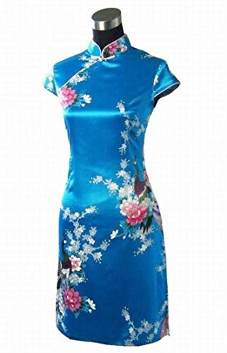 Classic Blue Chinese Female Satin Rayon Traditional Evening Qipao by yubanfifteen (Image #1)