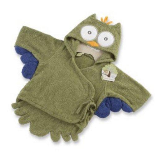 """Doux MIGNON !!! Bain de bébé animal Spa Peignoir à capuchon pour 0-9 mois (""""My Little Night Owl"""" capuche Terry Owl Robe en VERT)"""