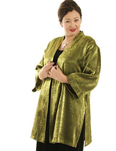 Peggy Lutz Plus Women's Tunic Length Kimono Bottle Green Crinkle Crash - (30/32)