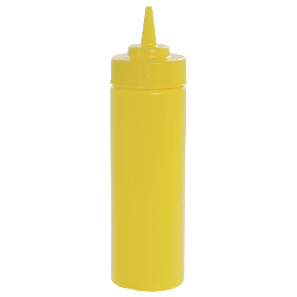 Tablecraft 12 oz Yellow Polyethylene Widemouth Squeeze Bottle - 2 1/4''Dia x 8 1/2''H