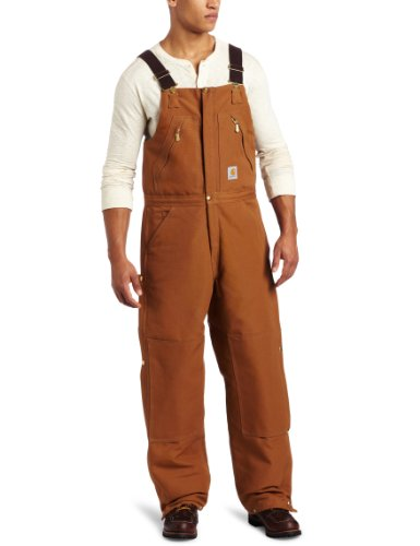 Carhartt Bib - Carhartt Men's Quilt Lined Zip To Waist Biberalls,Brown,32 x 30