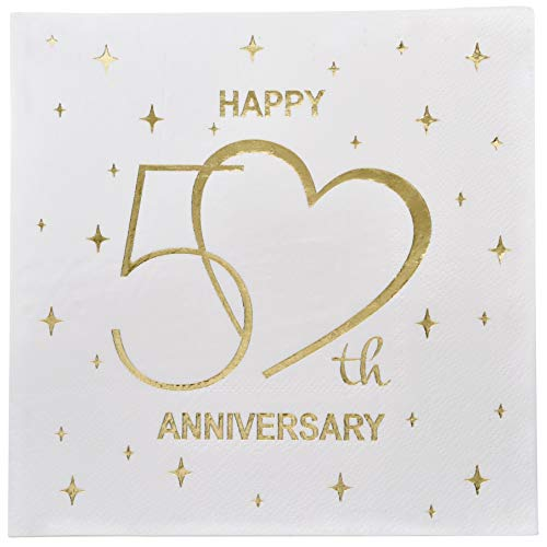 (Gift Boutique 100 Count 3 Ply Happy 50th Anniversary Napkins Wedding Party Favor Supplies Decorations White & Gold Foil Luncheon Napkin Heart Designs)