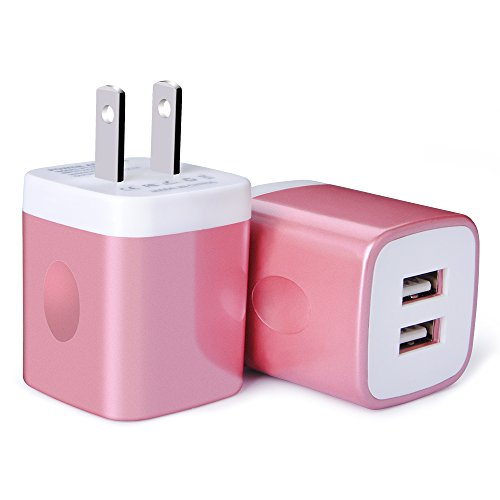 USB Wall Charger, Charger Adapter, Ailkin 2-Pack 2.1Amp Dual Port Quick Charger Plug Cube for iPhone 7/6S/6S Plus/6 Plus/6/5S/5, Samsung Galaxy S7/S6/S5 Edge, LG, HTC, Huawei, Moto, Kindle and More