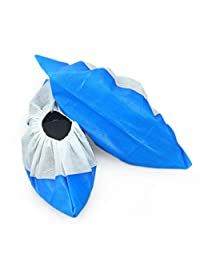 Cleaing Blue Machine-Made Disposable Shoe Covers,Waterproof Bottom 50-Pack One Size Fits All Up to XL