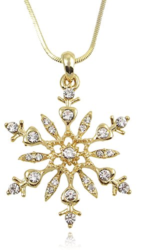 (Crystal Snowflake Pendant Necklace Winter Bridal Fashion Christmas Holiday Jewelry Gifts for Girls, Teens, Women (Gold)