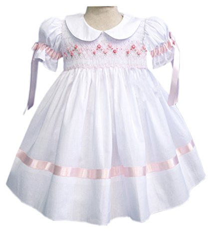 Carouselwear White Girls Heirloom Dress With Pink Ribbons and Hand Smocking Easter Dress by Carouselwear