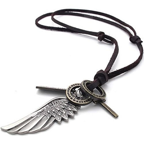 Costumes For Couples Tumblr (Stainless Steel Necklaces, Men's Pendant Necklaces Leather Wings Silver)