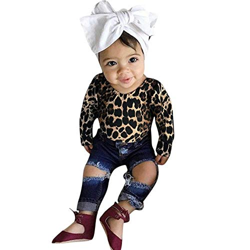 2018 2PCS Children Outfit,Kids Long Sleeves Leopard Print Top Jeans Legging Set (6-12 Months, Brown)
