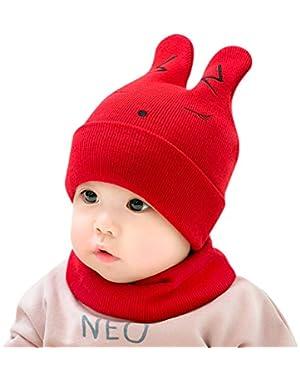 2PCS/Set Cute Cartoon Rabbit Design Newborn Baby Knitted Hat + Scarf Suit Warm Round Cap Neck Gaiter Set