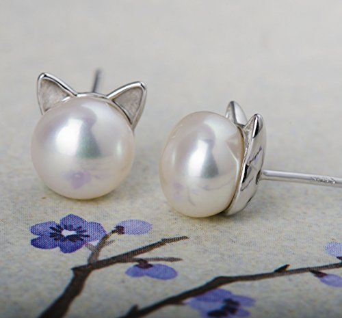 S Leaf Cat Ear Stud Earrings Freshwater Cultured Pearl