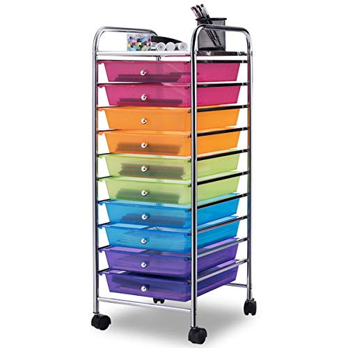 Giantex 10 Drawer Rolling Storage Cart Scrapbook Paper Office School Organizer Clear (COLOR) - Reading First Classroom Kit