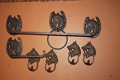 Southern Metal Cast Iron Cowboy Bathroom Decor Towel Rack Ring Toilet Paper Holder Bundle of 7 Pieces
