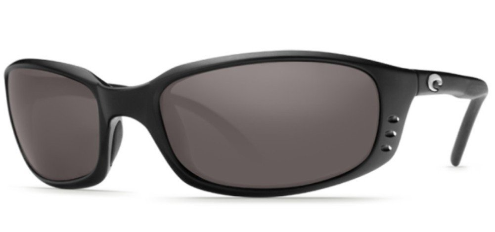 Costa Brine Polarized Sunglasses - Costa 580 Polycarbonate Lens Matte Black/Gray, One Size