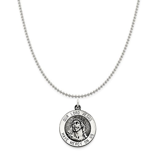 Sterling Silver Antiqued Ecce Homo Medal on a Sterling Silver Ball Chain Necklace, ()