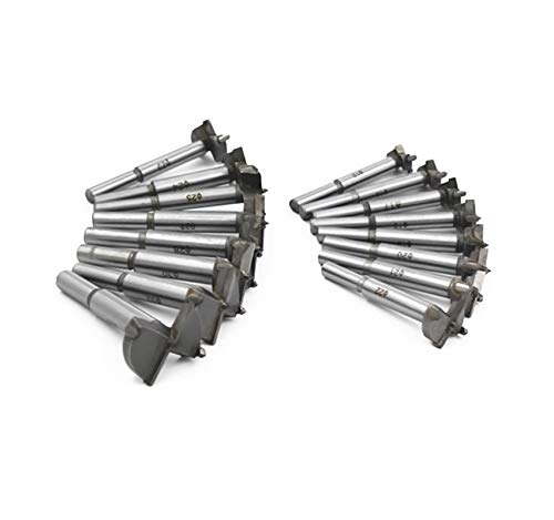 Carbide Forstner Bits High Speed Steel Wood Tool Punching Bit Wood Slabs Flat Wing Drilling Hole Hinge Cemented Carbide Drilling Counterbore DC01 Meichoon Forstner Drill Bit Set 15-35mm 16 Pcs