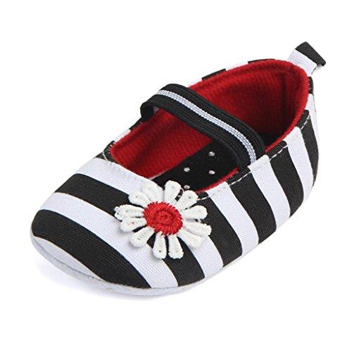 Hunpta Säugling Streifen Blume Schuhe Soft Sole Kinder Mädchen Baby Anti-Rutsch Baby Schuhe Schwarz