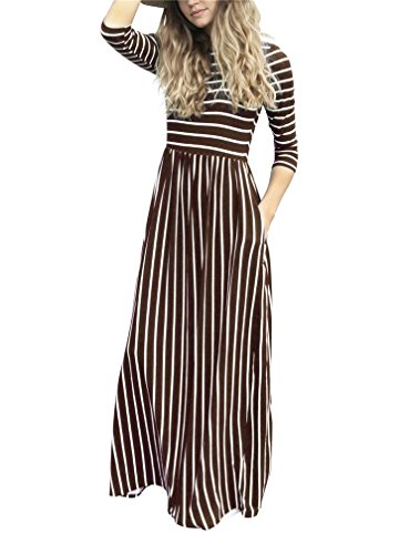 LeaLac Women Summer Fashion Cotton 3/4 Sleeve Striped Casual Loose Maxi Dresses Elastic Waist Tunic Long T-Shirt Dress with Pocket L63-D6494 Brown M by LeaLac