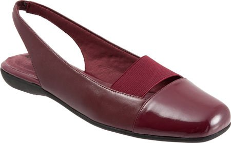 Trotters Women's Sarina Slingback,Dark Red Burnished Soft Kid/Patent Synthetic,U Burnished Red Kids Shoes