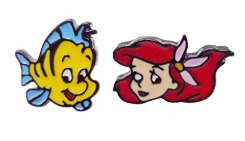 Disney's The Little Mermaid & Flounder Metal Enamel Stud Earrings W/ Gift - Studs Metal Enamel