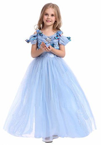 Cinderella Outfit - Cohaco Girls Cinderella Style Princess Light Blue Color Dress with Butterfly (12-14 (10-12 years))