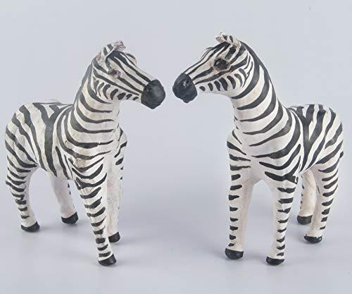 - Leather Zebra - White & Black Pair - Handmade & Hand-Painted (2, 6 inches)