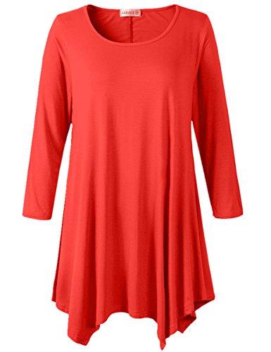 LARACE Women Plus Size 3/4 Sleeve Tunic Tops Loose Basic Shirt(L, Red) by LARACE