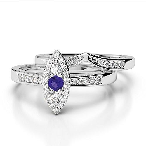 Or blanc 18carats 0,10ct G-H/VS Certifié Coupe ronde tanzanite et diamants Mariage Bague de fiançailles et ensemble de Agdr-1050