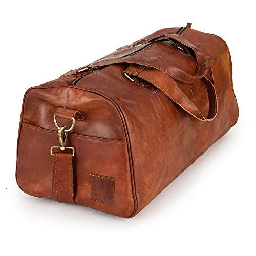 Weekender Berliner Bags Oslo Reisetasche aus Leder Damen Herren Braun Groß 45l
