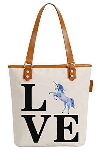 Shoulder Unicorn Tote Womens Handle Bag Canvas Letters Pearly Top Love Soeach q1wznSFf