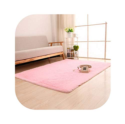 Super Soft Long Plush Silky Mat Carpet Solid Door Area Rug Bedroom Living Room Window Bedside,Pink,1200X2000MM