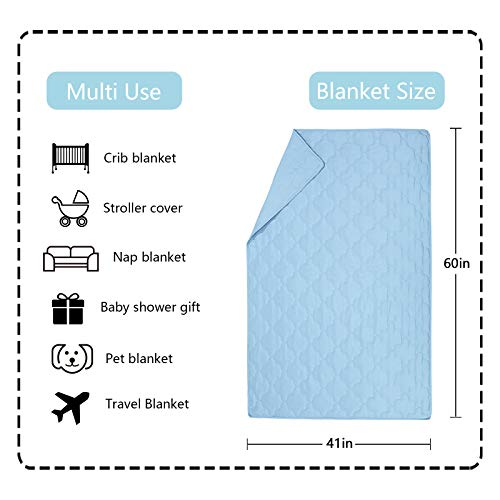"SunStyle Home Microfiber Toddler Blanket Lightweight Baby Quilted Blanket All Seasons Multi-Use Cozy Crib Comforter for Boy and Girls (Light Blue, 41""X60"")"