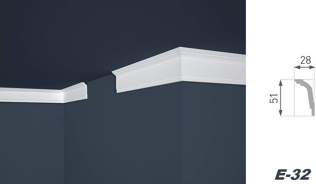 2 Meter 40 x 45 mm E-5 riesige Auswahl leichte und stabile Profile f/ür Decken-// und Wand/übergang modern wei/ß dekorativ XPS Stuckleisten aus Styropor