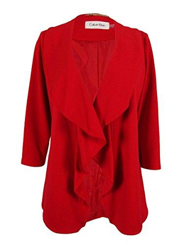 Calvin Klein Womens Petites Ponte Ruffled Open-Front Blazer Red 2P ()